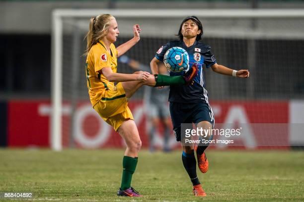 "Kaitlyn Torpey of Australia trips up with Hinata Miyazawa of Japan during their AFC U-19 Women""u2019s Championship 2017 Group Stage B match between..."