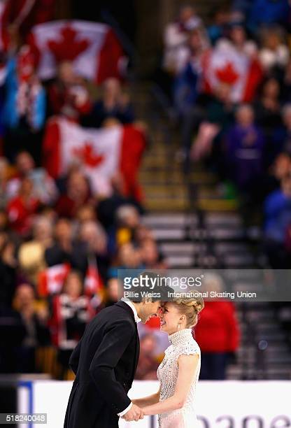 Kaitlyn Weaver and Andrew Poje of Canada compete during Day 3 of the ISU World Figure Skating Championships 2016 at TD Garden on March 30 2016 in...