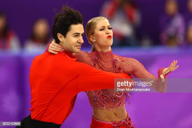 Kaitlyn Weaver and Andrew Poje of Canada compete during the Figure Skating Ice Dance Short Dance on day 10 of the PyeongChang 2018 Winter Olympic...