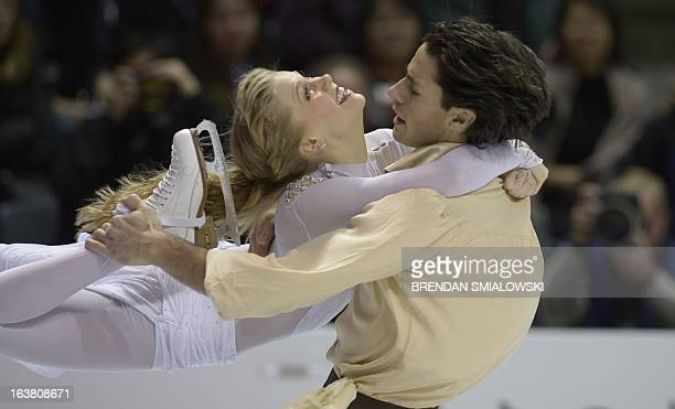 Kaitlyn Weaver and Andrew Poje of Canada compete during the Ice Dance Free Dance event at the 2013 World Figure Skating Championships March 16 2013...