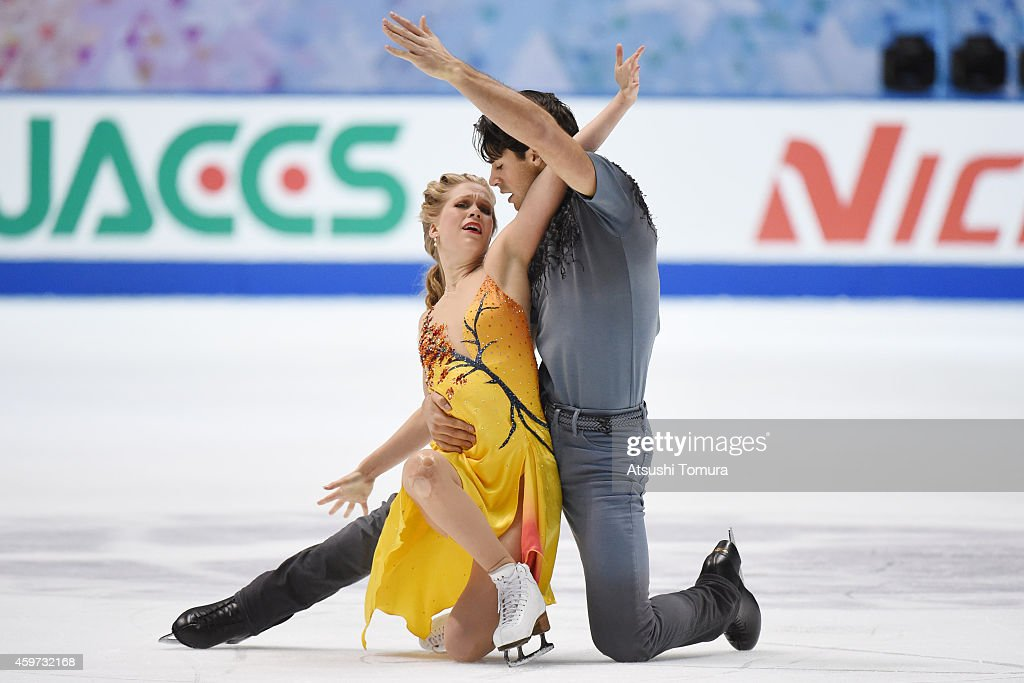 Kaitlyn Weaver and Andrew Poje of Canada compete in the Ice Dance Free Dance during day three of ISU Grand Prix of Figure Skating 2014/2015 NHK Trophy at the Namihaya Dome on November 30, 2014 in Osaka, Japan.