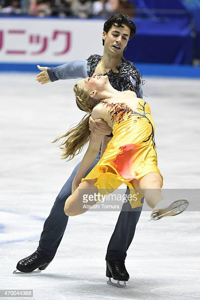 Kaitlyn Weaver and Andrew Poje of Canada compete in the Ice Dance free dance during the day two of the ISU World Team Trophy at Yoyogi National...