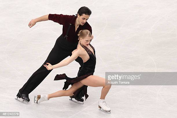 Kaitlyn Weaver and Andrew Poje of Canada compete in the Ice Dance Free Dance during ISU World Figure Skating Championships at Saitama Super Arena on...