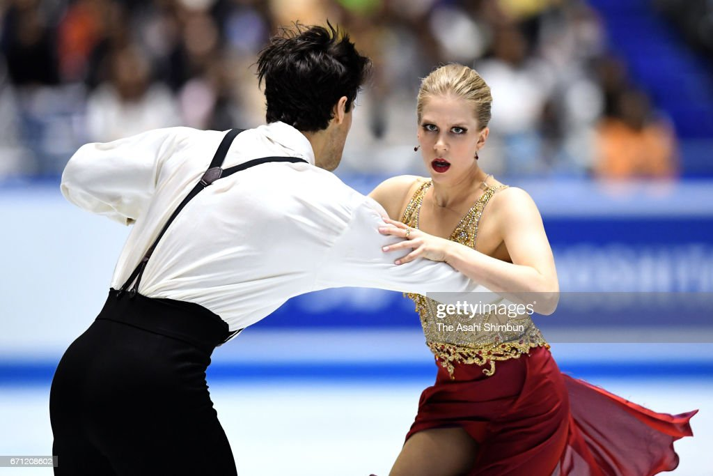 Kaitlyn Weaver and Andrew Poje of Canada compete in the Ice dance free dance during day two of the ISU World Team Trophy at Yoyogi National Gymnasium on April 21, 2017 in Tokyo, Japan.