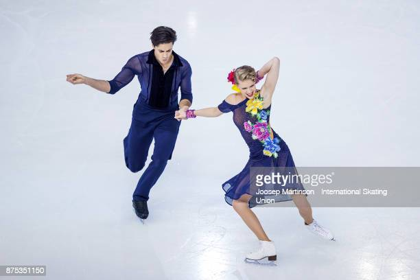 Kaitlyn Weaver and Andrew Poje of Canada compete in the Ice Dance Short Dance during day one of the ISU Grand Prix of Figure Skating at Polesud Ice...