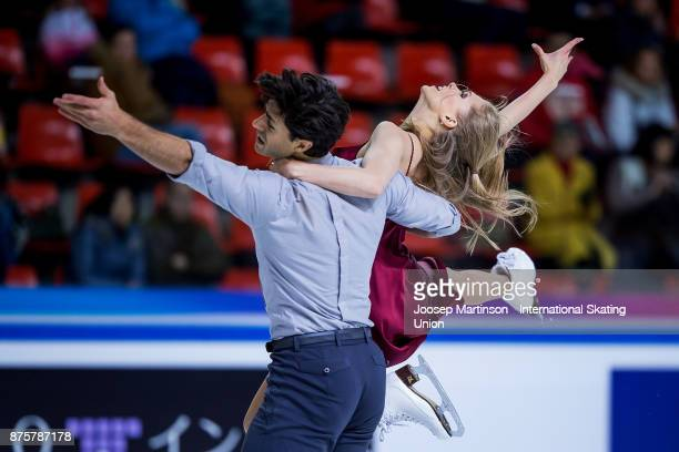 Kaitlyn Weaver and Andrew Poje of Canada compete in the Ice Dance Free Dance during day two of the ISU Grand Prix of Figure Skating at Polesud Ice...