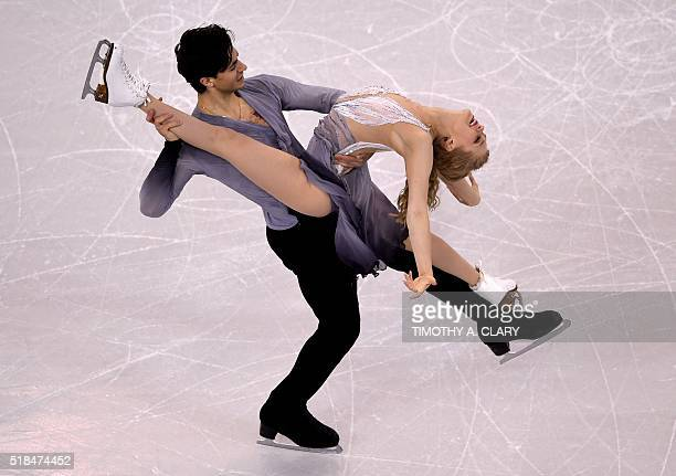 Kaitlyn Weaver and Andrew Poje of Canada perform during the Ice Dance Free Dance at the ISU World Figure Skating Championships at TD Garden in Boston...
