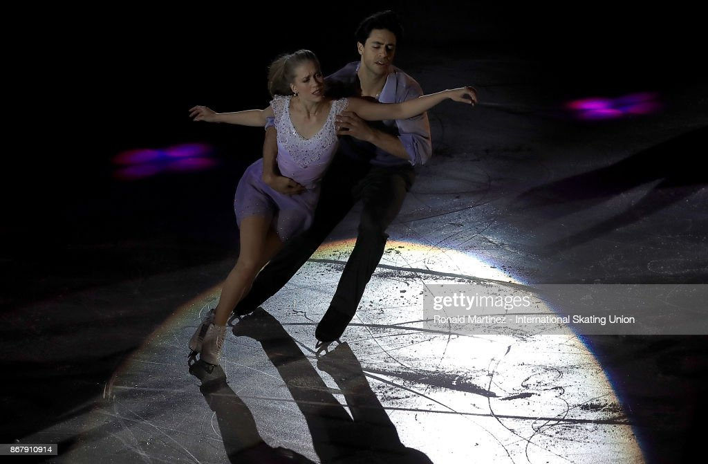 Kaitlyn Weaver and Andrew Poje of Canada perform in the exhibition gala during the ISU Grand Prix of Figure Skating at Brandt Centre on October 29, 2017 in Regina, Canada.