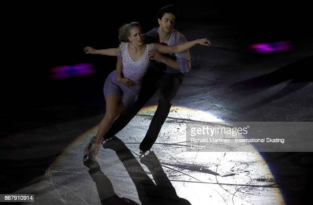 Kaitlyn Weaver and Andrew Poje of Canada perform in the exhibition gala during the ISU Grand Prix of Figure Skating at Brandt Centre on October 29...