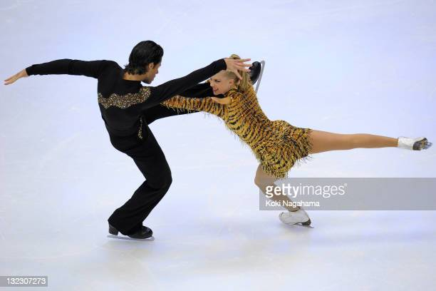 Kaitlyn Weaver and Andrew Poje of Canada perform in the Ice Dance during day one of the ISU Grand Prix of Figure Skating NHK Trophy at Makomanai...