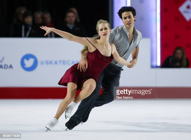 Kaitlyn Weaver and Andrew Poje of Canada practice their ice dance routine during the 2018 Canadian Tire National Skating Championships game at the...