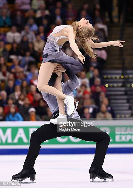 Kaitlyn Weaver and Andrew Poje of Canada skate in Free Dance Program during Day 4 of the ISU World Figure Skating Championships 2016 at TD Garden on...