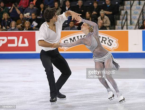 Kaitlyn Weaver and Andrew Poje of Canada skate in the free dance during the Skate America competition at the ShoWare Center on October 21 2012 in...