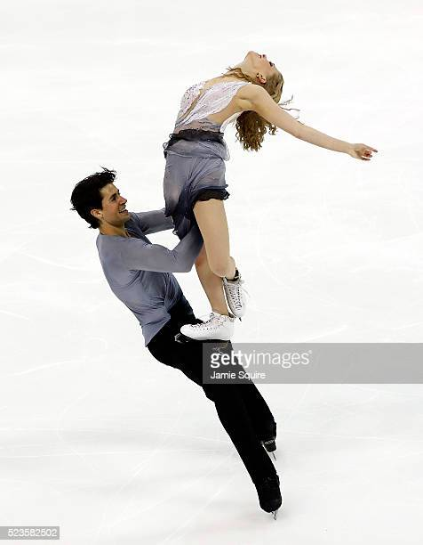 Kaitlyn Weaver and Andrew Poje of team North America compete in their Free Dance routine on day 2 of the 2016 KOSE Team Challenge Cup at Spokane...