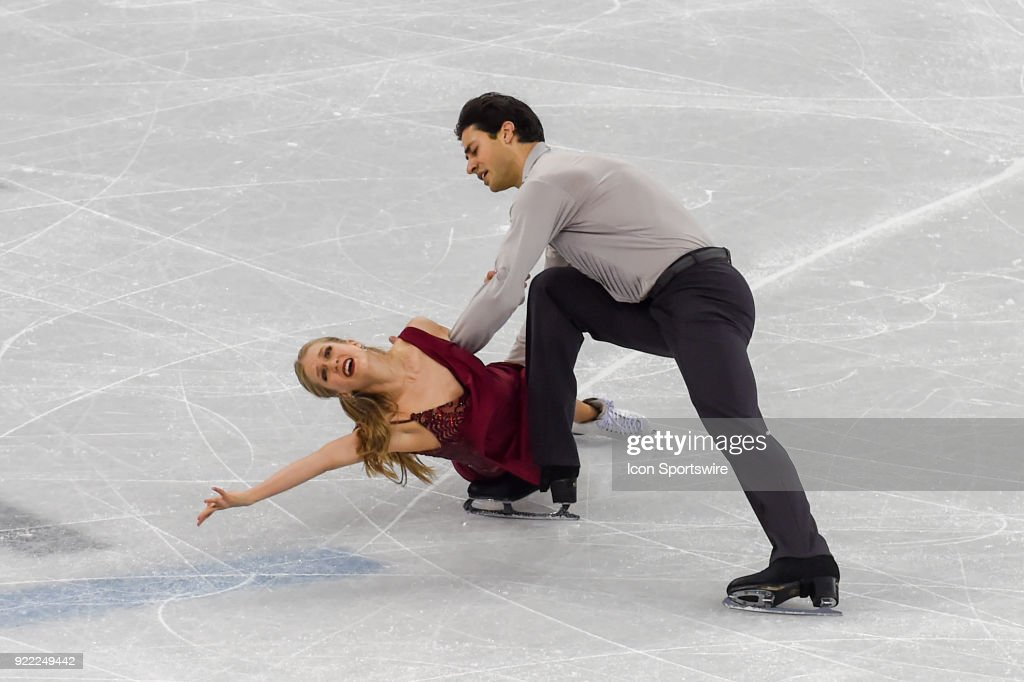 Kaitlyn Weaver and Andrew Poje (CAN) skate in the free dance of the Ice Dancing competition during the 2018 Winter Olympic Games at the Gangneung Ice Arena on February 20, 2018 in PyeongChang, South Korea.