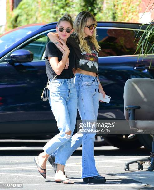 Kaitlynn Carter and Miley Cyrus are seen on September 14 2019 in Los Angeles California