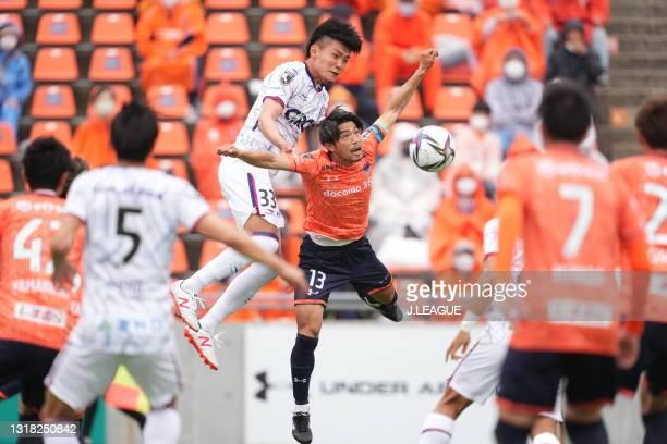 Kaito ABE of Fagiano Okayama and Daisuke WATABE of Omiya Ardija battle for the ball during the J.League Meiji Yasuda J2 match between Omiya Ardija...