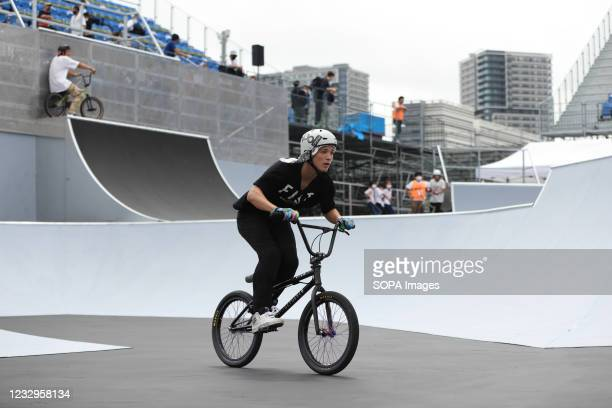 Kaito Fukao in action during warm up for the first heat run at the Ready Steady Tokyo BMX Freestyle Olympic Test Event in Ariake Urban Sports Park.