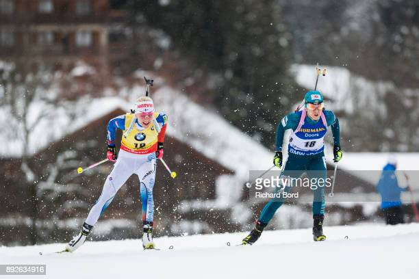 Kaiza Makarainen of Finland and Yuliia Dzhima of Ukraine perform during the IBU Biathlon World Cup Women's Sprint on December 14 2017 in Le Grand...