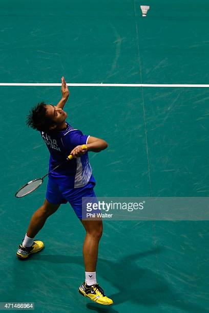 Kaizar Bobby Alexander of Indonesia plays a return to Ai Wei Jian of Malaysia during the 2015 Badminton Open at the North Shore Events Centre on...