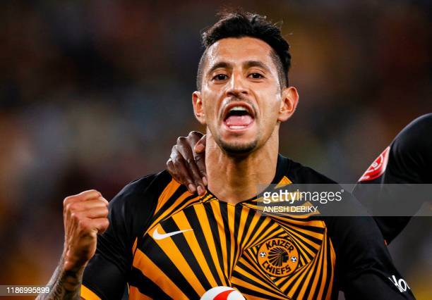 Kaizer Chiefs' Clombian forward Leonardo Castro celebrates after scoring a goal during the Premier Soccer League match between Kaizer Chiefs and...