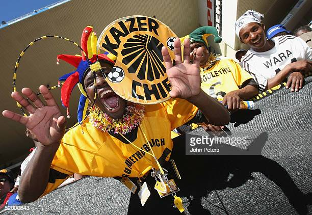 Kaizer Chiefs fan poses ahead of the Vodacom Challenge preseason friendly match between Kaizer Chiefs and Manchester United at Newlands Stadium on...