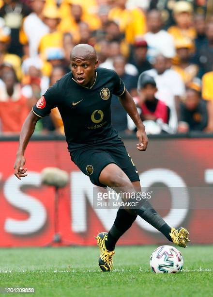 Kaizer Chiefs' midfielder Lebogang Manyama controls the ball during the Premier Soccer League match between Orlando Pirates and Kaizer Chiefs at the...