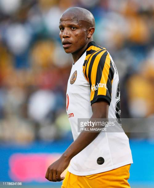 Kaizer Chiefs' midfielder Lebogang Manyama reacts during the ABSA Premier Soccer League match between Mamelodi Sundowns and Kaizer Chiefs held at the...
