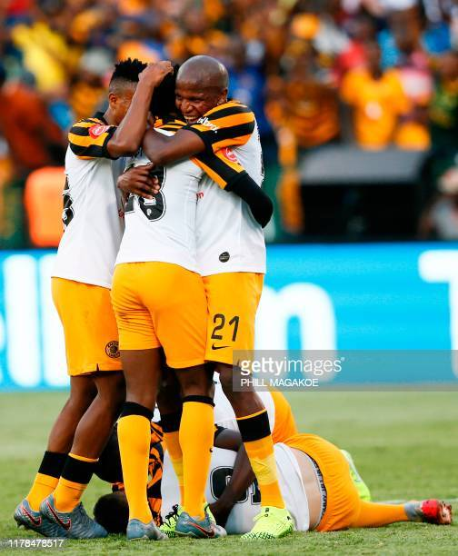Kaizer Chiefs' players celebrate after scoring a goal during the ABSA Premier Soccer League match between Mamelodi Sundowns and Kaizer Chiefs at...