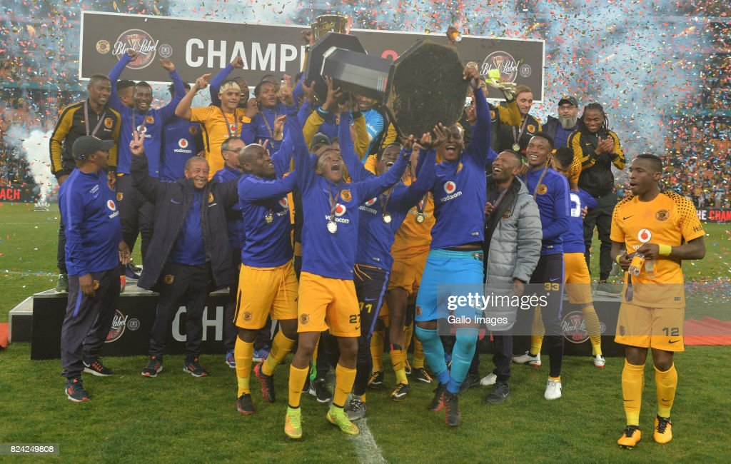 Kaizer Chiefs players champions during the Carling Black Label Champion Cup match between Orlando Pirates and Kaizer Chiefs at FNB Stadium on July 29, 2017 in Johannesburg, South Africa. At least two people have been reported to have been killed and several injured in a crush during the game at South Africa's biggest stadium.