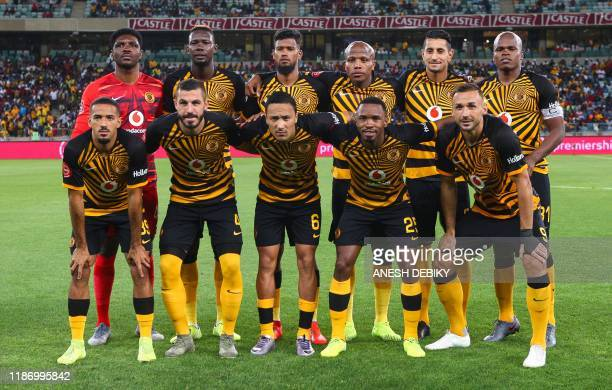 Kaizer Chiefs' players pose for a group picture prior to the Premier Soccer League match between Kaizer Chiefs and Bloemfontein Celtic at the Moses...