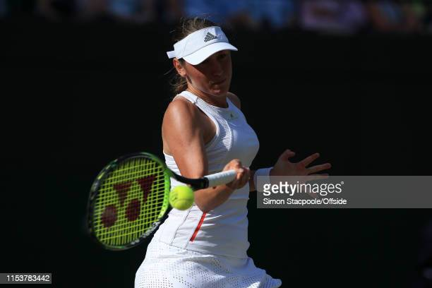 Kaja Juvan in action against Serena Williams during their Ladies' Singles 2nd Round match on Day 4 of The Championships - Wimbledon 2019 at the All...