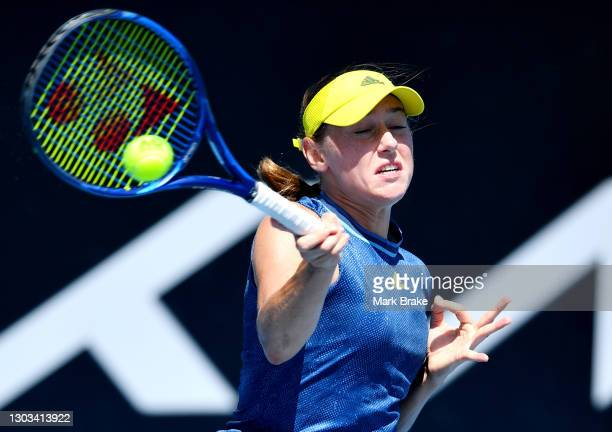 Kaja Juvan of Slovakia hits a forehand during her round one match against Coco Gauff of the USAat Memorial Drive on February 22, 2021 in Adelaide,...
