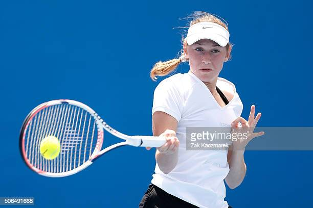 Kaja Juvan of Slovakia plays a forehand in her first round match against Chihiro Muramatsu of Japan during the Australian Open 2016 Junior...