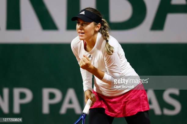 Kaja Juvan of Slovenia celebrates after winning a point during her Women's Singles first round match against Angelique Kerber of Germany on day two...
