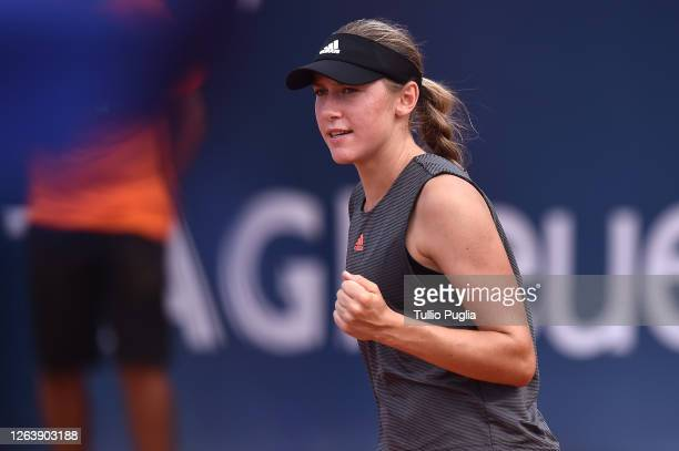 Kaja Juvan of Slovenia celebrates during her match against Marketa Vondrousova of Czech Republic during the 31st Palermo Ladies Open - Day Two on...