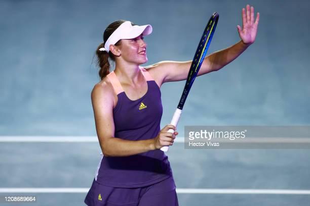 Kaja Juvan of Slovenia celebrates during the singles match between Kaja Juvan of Slovenia and Venus Williams of USA as part of the WTA Mexican Open...