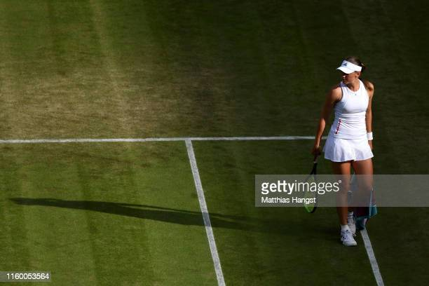 Kaja Juvan of Slovenia looks on in her Ladies' Singles second round match against Serena Williams of The United States during Day four of The...