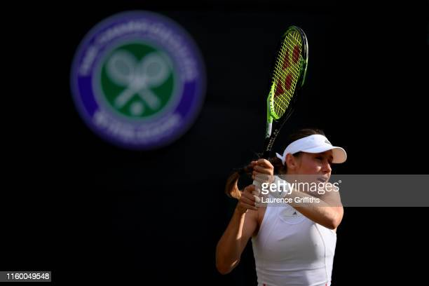 Kaja Juvan of Slovenia plays a backhand in her Ladies' Singles second round match against Serena Williams of The United States during Day four of The...