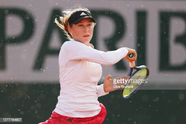 Kaja Juvan of Slovenia plays a forehand during her Women's Singles second round match against Clara Burel of France on day five of the 2020 French...
