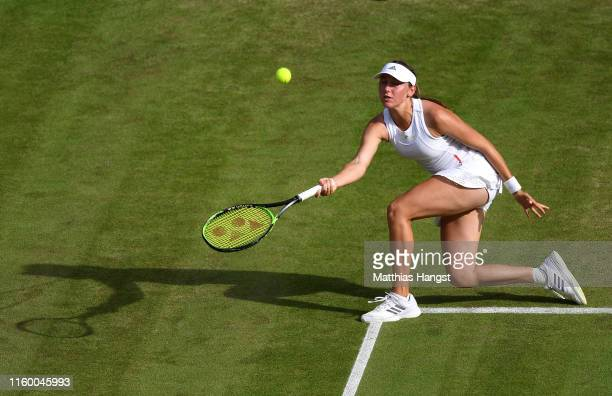 Kaja Juvan of Slovenia plays a forehand in her Ladies' Singles second round match against Serena Williams of The United States during Day four of The...