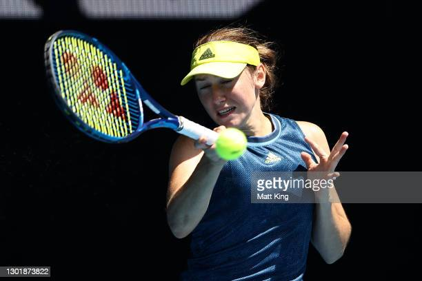 Kaja Juvan of Slovenia plays a forehand in her Women's Singles third round match against Jennifer Brady of the United States during day six of the...