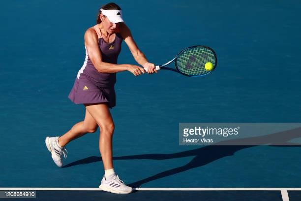 Kaja Juvan of Slovenia returns a ball during the singles match between Kaja Juvan of Slovenia and Venus Williams of USA as part of the WTA Mexican...