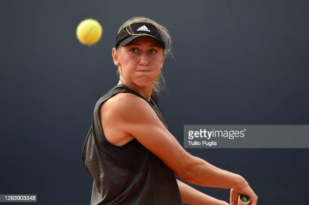 Kaja Juvan of Slovenia returns a shot against Marketa Vondrousova of Czech Republic during the 31st Palermo Ladies Open - Day Two on August 04, 2020...