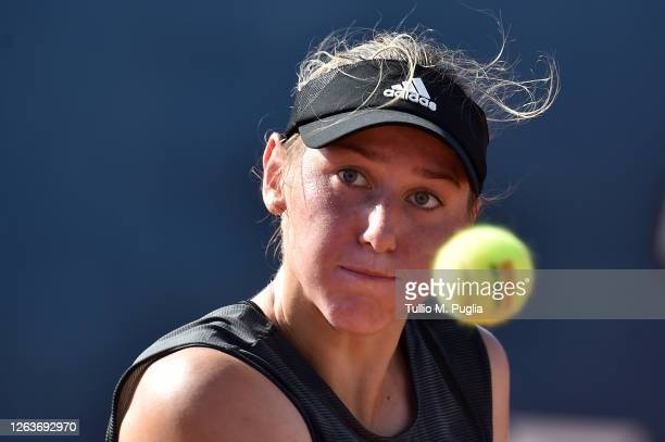 Kaja Juvan of Slovenia returns a shot against Martina Trevisan of Italy during the 31st Palermo Ladies Open - Day One on August 03, 2020 in Palermo,...