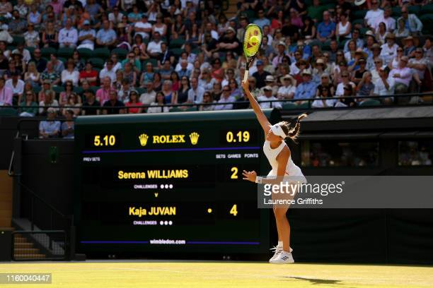 Kaja Juvan of Slovenia serves in her Ladies' Singles second round match against Serena Williams of The United States during Day four of The...