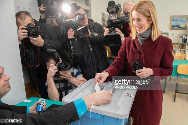 Kaja Kallas leader of the Reform Party casts her ballot in a polling station during Estonia's general election in Tallin on March 3 2019 Estonias...
