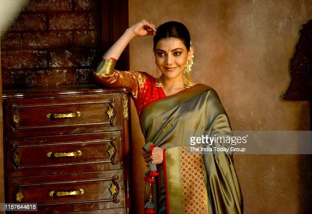 Kajal Aggarwal clicked during the campaign shoot for her fashion brand in Mumbai