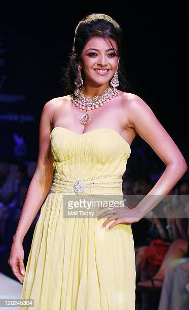 Kajal Aggarwal walks the ramp during CVM exports show held at India International Jewellery Week Season 2 in Mumbai on August 01 2011