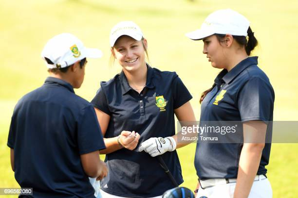 Kajal Mistry of South Africa Kaleigh Telfer of South Africa and Symone Henriques of South Africa smile during the final round of the 2017 TOYOTA...